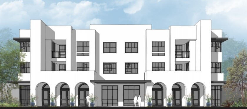An architectural rendering of one of the apartment buildings proposed for El Corazon Park.