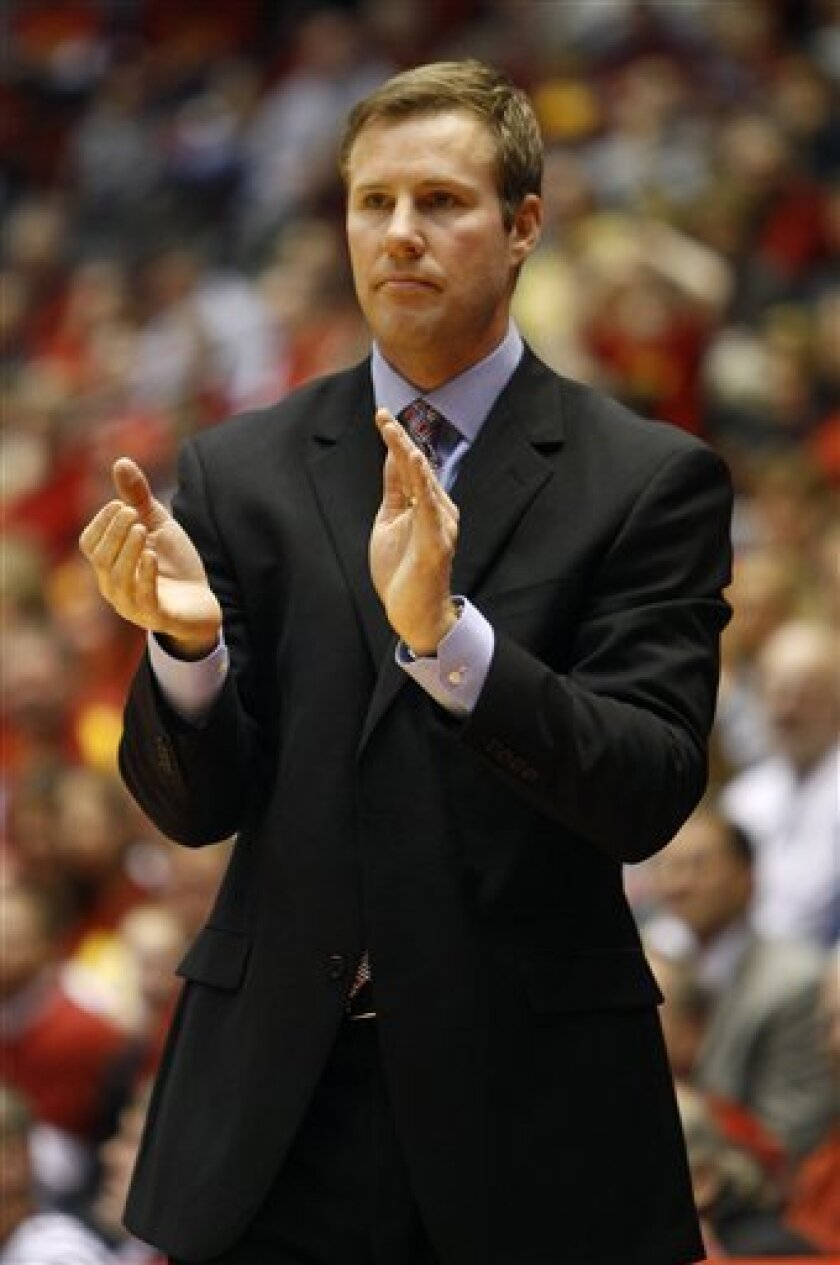 Iowa State coach Fred Hoiberg reacts during the second half of an NCAA college basketball game against Northern Illinois, Monday, Jan. 3, 2011, in Ames, Iowa. Iowa State won 72-63. (AP Photo/Charlie Neibergall)