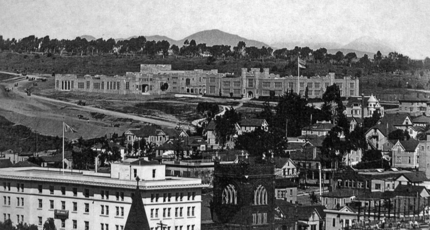 """The first home of San Diego City College was the """"Old Gray Castle,"""" seen here in 1914. City College was the first community college in San Diego with 34 students and 4 instructors. Photo courtesy San Diego City College"""