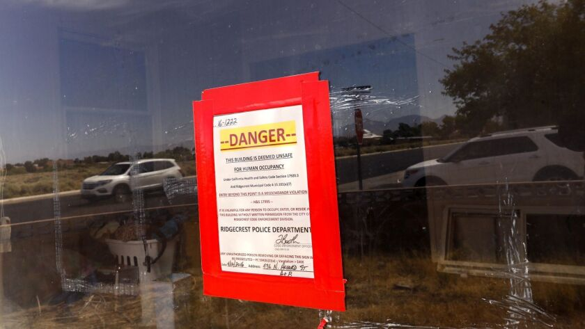 After last week's back-to-back earthquakes, a damaged home in Ridgecrest, Calif., was red-tagged and deemed unsafe this week by the Ridgecrest Police Department.