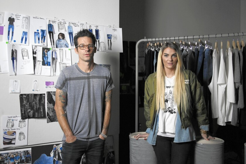 Made Gold's Shane Markland and Marta Goldschmied, seen in their Vernon office, are launching their premium denim line's debut collection in stores this month.