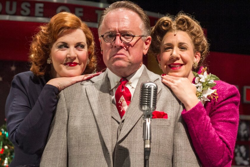"""Maggie Carney, Tom Stephenson and Melinda Gilb in a scene from Cygnet Theatre's """"A Christmas Carol: A Live Radio Play."""""""