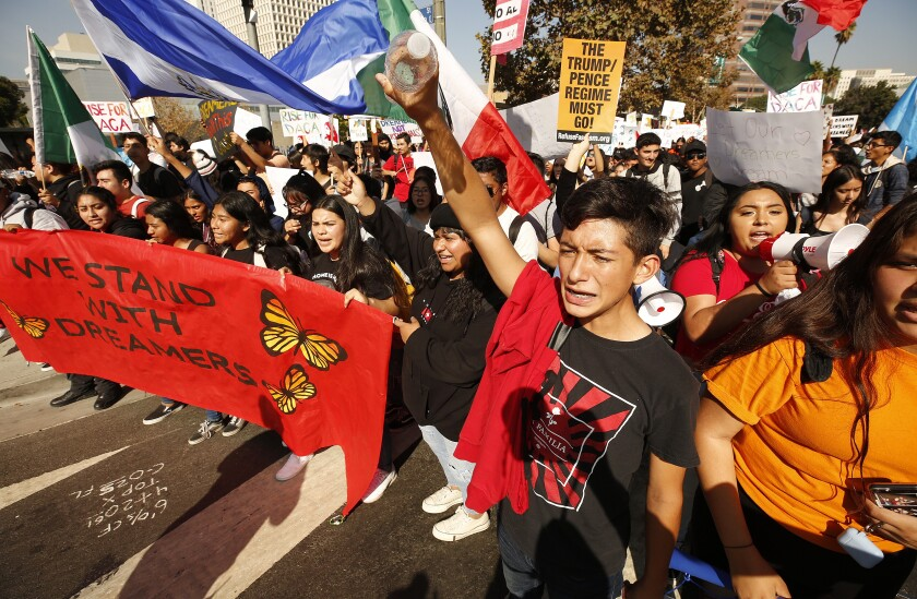 Joseph Moreno joins fellow high schoolers and others at an L.A. march in support of Deferred Action for Childhood Arrivals.