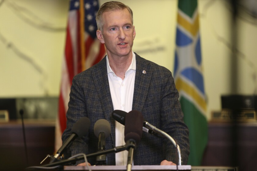 Mayor Ted Wheeler of Portland, Ore., at a news conference in August