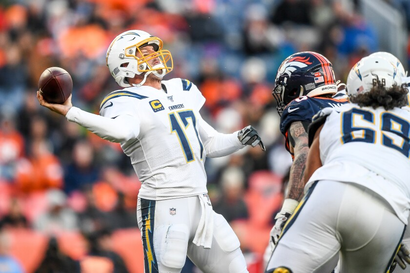 Chargers quarterback Philip Rivers in Sunday's game against the Broncos in Denver.