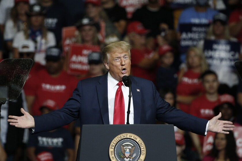President Trump speaks during a campaign rally in Tulsa, Okla., on June 20.