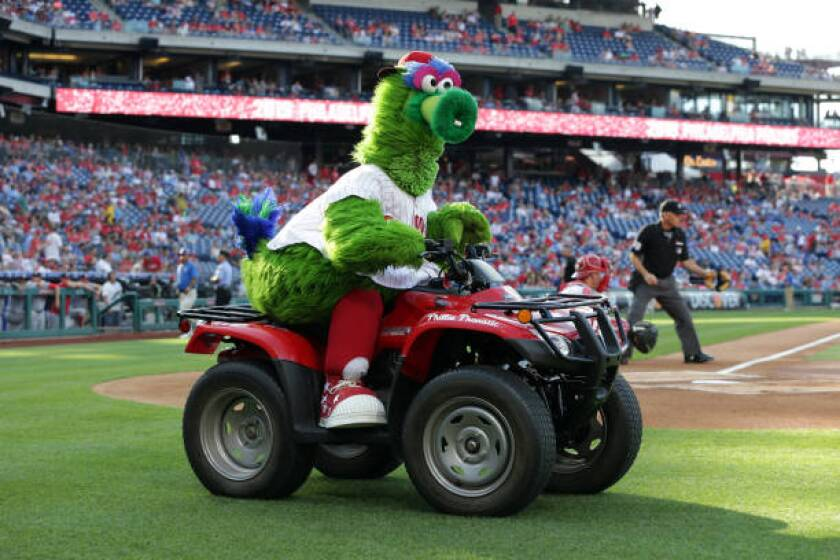 The Phillie Phanatic performs before a game against the Washington Nationals on July 12 in Philadelphia.