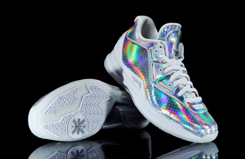 In this undated photo provided by Li-Ning, Dwyane Wade's special All-Star sneakers are displayed. With all the big stars in Toronto and millions of fans watching around the world, the big shoe companies have turned the basketball court into a runway and are breaking out specially designed sneakers