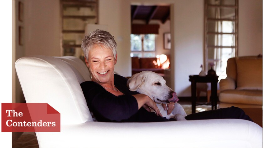 """Jamie Lee Curtis (here with her dog J.J.) is having fun returning to her horror roots, with a healthy dose of satire, in """"Scream Queens."""" She's nominated for a Golden Globe."""