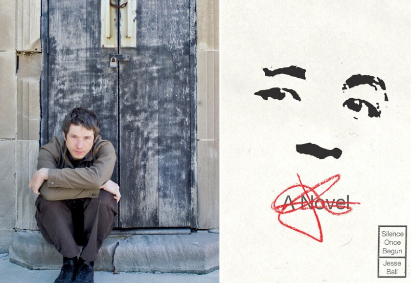 """Author Jesse Ball and the cover of his book, """"Silence Once Begun."""""""
