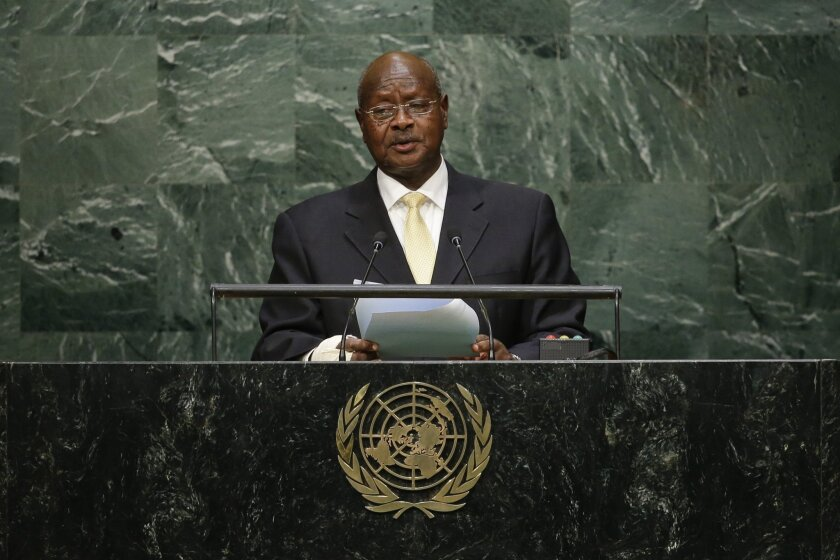 FILE- In this September 28, 2016 file photo, Uganda's President Yoweri Kaguta Museveni speaks during the 70th session of the United Nations General Assembly at U.N. headquarters. Uganda's long-time president is attending a televised debate Saturday Feb. 13, 2016 night, in which he faces seven chall