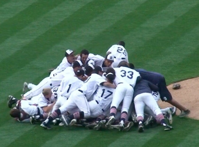 The Beckman High baseball team celebrates winning a Southern Section championship last season.