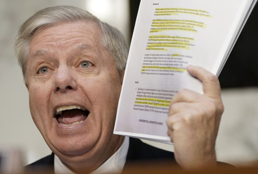 Senate Judiciary Committee Chairman Lindsey Graham (R-S.C.) argued that the inspector general's report showed the FBI had engaged in a conspiracy to target President Trump for investigation.
