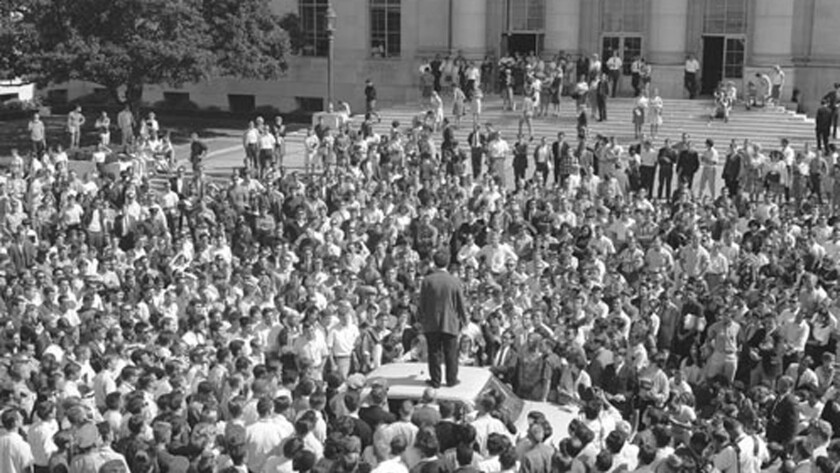 This is what free speech looks like: Mario Savio on top of police car on Sproul Plaza on Oct 1. 1964