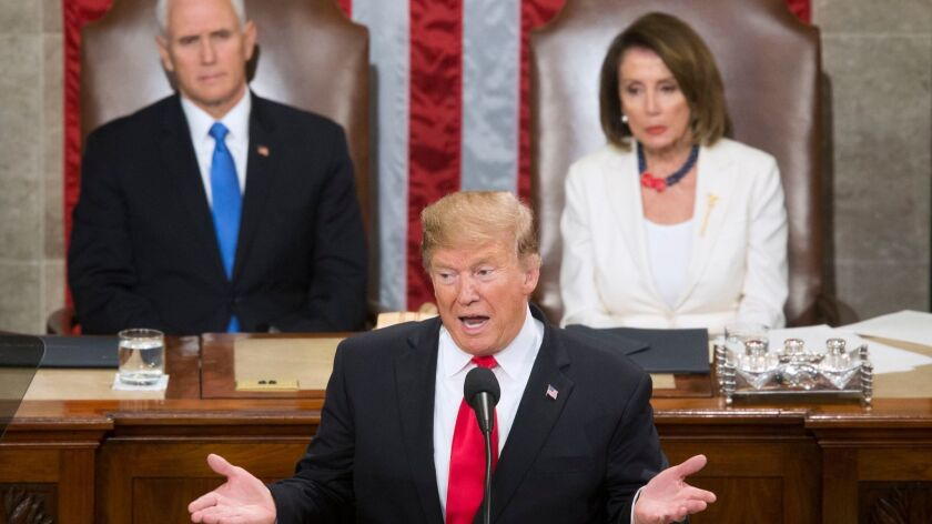 President Trump delivers his State of the Union address on Feb. 5, 2019.