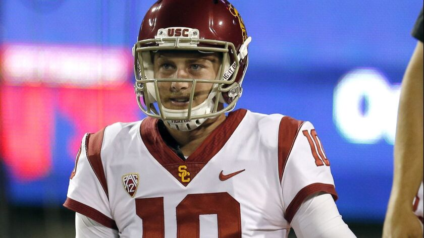 Third-string quarterback Jack Sears is a redshirt freshman who has not appeared in a game for the Trojans.
