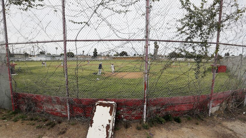 INGLEWOOD, CALIF. - APR. 4, 2019. The baseball field and other athletic facilities at Morningside H