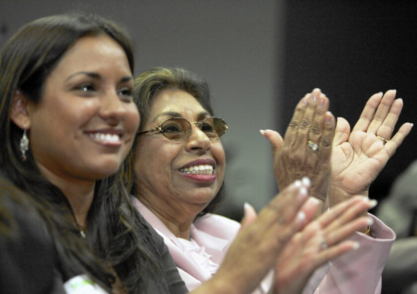 Mistala Mendez Mooney, left, and her aunt Sylvia Mendez at a 2007 event marking the 60th anniversary of Mendez vs. Westminster. Sylvia Mendez's parents fought for racial equality.