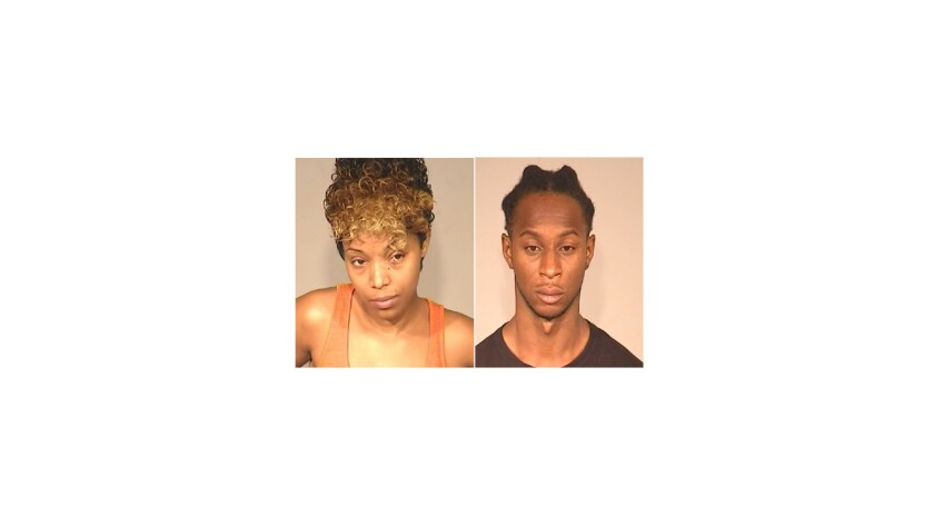 Laquandra Ligons, left, has been charged with murder in the fatal stabbing of a neighbor, allegedly in a dispute over their pets, Fresno police said. Thurman Ligons, right, has been charged with acting as an accessory to murder.
