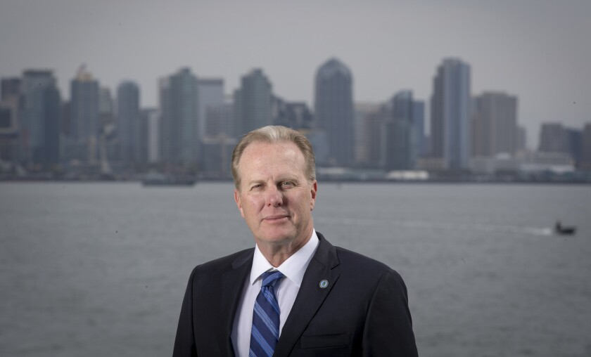 San Diego Mayor Kevin Faulconer poses for a portrait in front of the city skyline