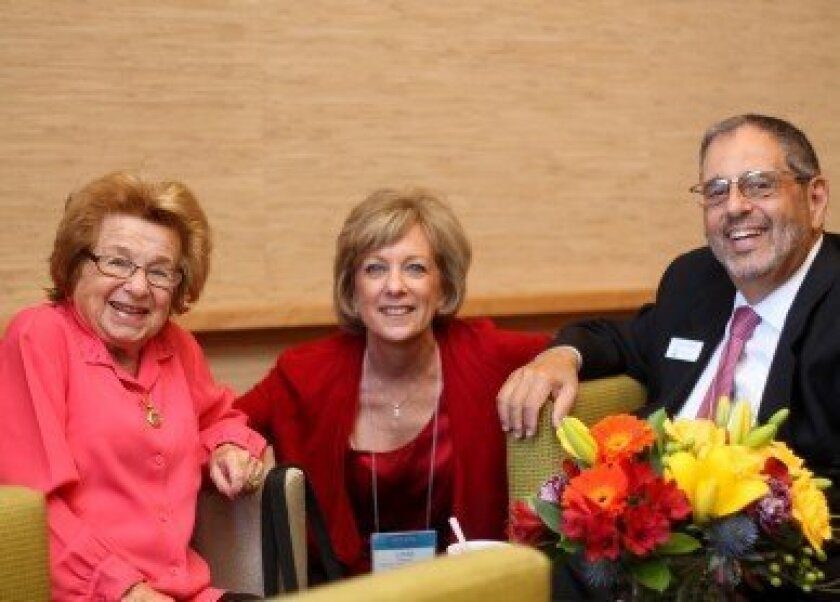 Dr. Ruth Westheimer, Linda Feldman, director of the Jewish Community Relations Center, and Michael Sonduck, CEO of the Jewish Federation of San Diego County. Courtesy photo