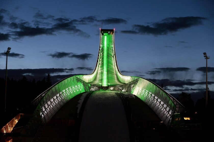 The Holmenkollen Ski Jump in Oslo, Norway, is one of many landmarks worldwide that are glowing green for St. Patrick's Day.