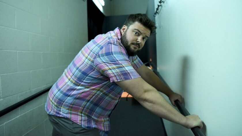 Jon Gabrus strikes a pose backstage before his performance at the Upright Citizens Brigade Theatre.