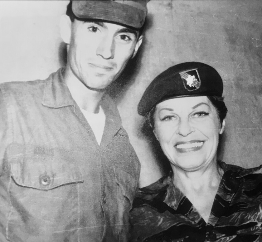 Charles Kraus with actress/ comedian Martha Ray in Vietnam in 1968