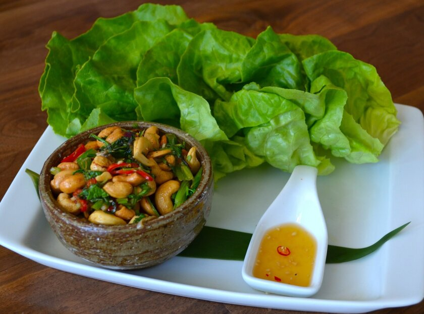 The Warm Cashew Salad is a vegetarian take on classic Chinese lettuce wraps.