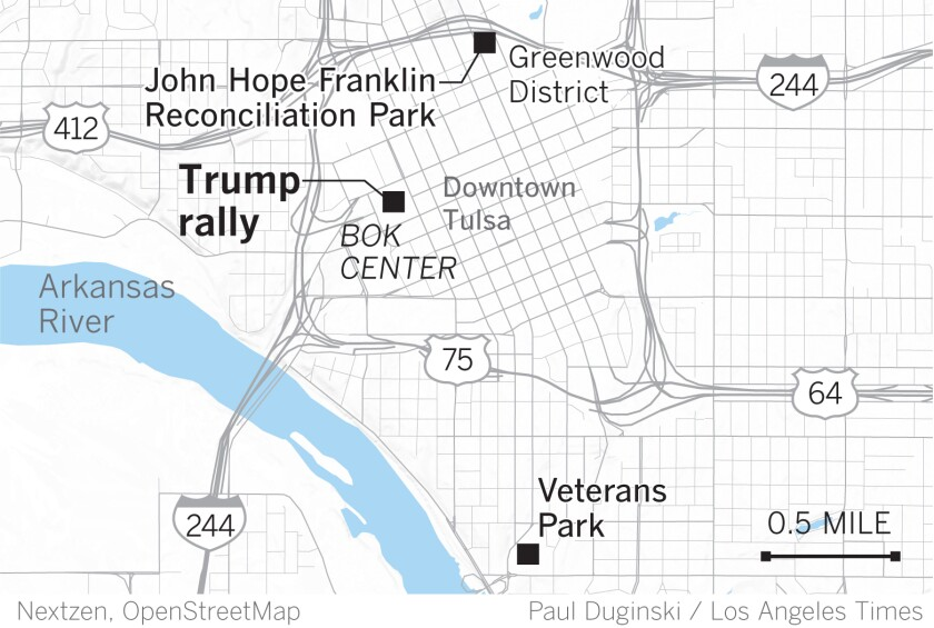 Rally and protest sites in Tulsa.