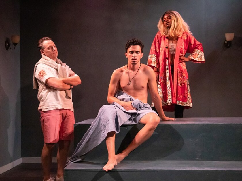 """David Wilcox, left, Michael Kodi Farrow and Raven Moran star in """"Driving Wilde,"""" a new play by Jacqueline Wright at Theatre of Note in Hollywood."""