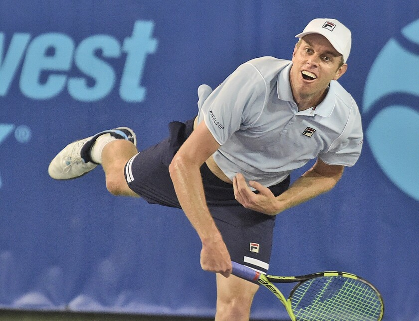 Sam Querrey of the Orange County Breakers competes in a World Team Tennis match in Newport Beach on July 16, 2018.
