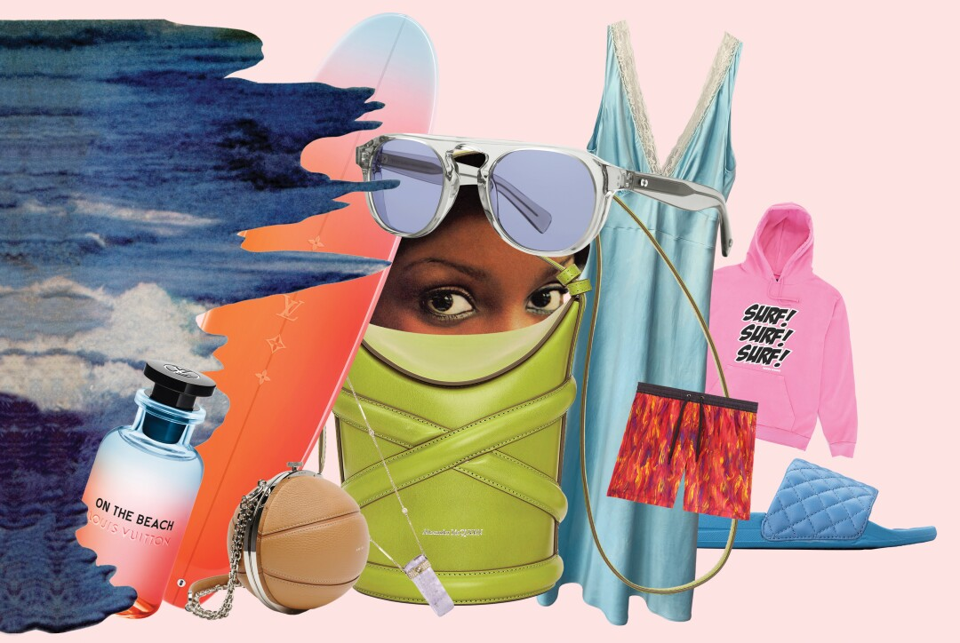 Collage of sunglasses, a sweatshirt and other summer products