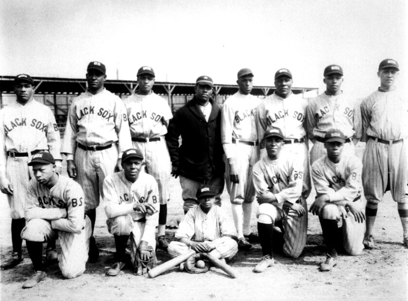 Players from the Negro Leagues' Baltimore Black Sox pose for team portrait during the 1925 season.