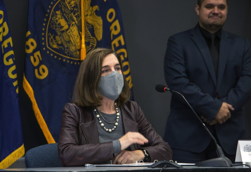 Oregon Gov. Kate Brown at a news conference this week in Portland.