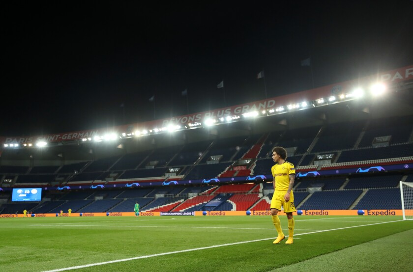 An empty soccer stadium in Paris. France's season has been canceled.