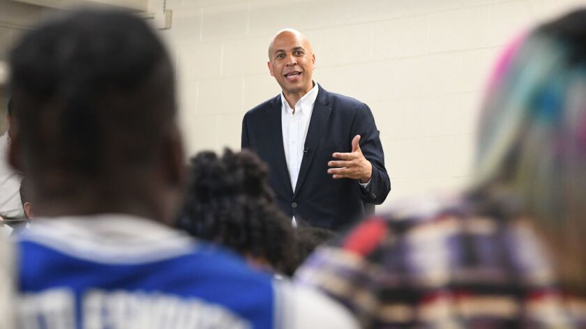 Democratic presidential candidate Sen. Cory Booker, D-N.J., speaks during a campaign stop April 26 in Columbia, S.C. This week, Booker rolled out a proposal to require federal licensing of all gun owners.