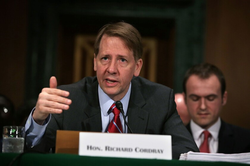 Richard Cordray, director of the Consumer Financial Protection Bureau, could be fired once President-elect Donald Trump takes office unless the agency successfully appeals a recent court ruling.
