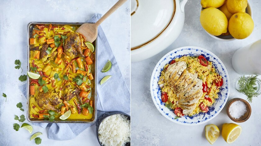 """This combination of images released by Simon & Schuster shows recipes for curried chicken sheet pan dinner, left, and herb-crusted roasted chicken from the book """"Cook Once Dinner Fix: Quick and Exciting Ways to Transform Tonight's Dinner into Tomorrow's Feast"""" by Cassy Joy Garcia. (Kristen Kilpatrick/Simon & Schuster via AP)"""