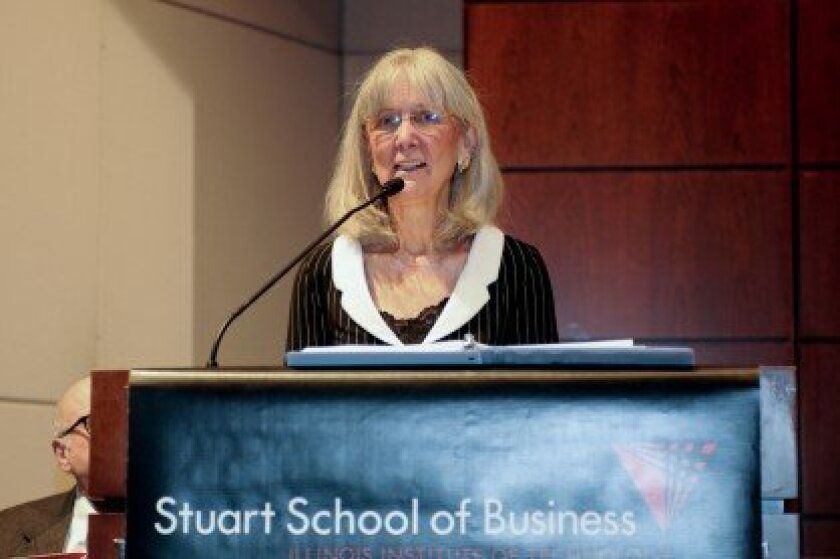 Arlene Harris speaking at the 2012 Stuart School of Business Commencement.