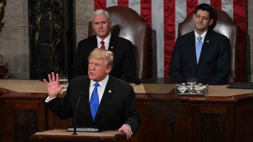 President Donald Trump delivers his State of the Union address before members of Congress in the House chamber of the U.S. Capitol on Tuesday night.