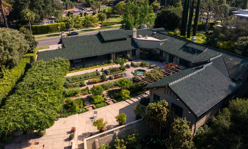 An aerial view of a Pasadena home that blends Craftsman, Asian and Italian influences.