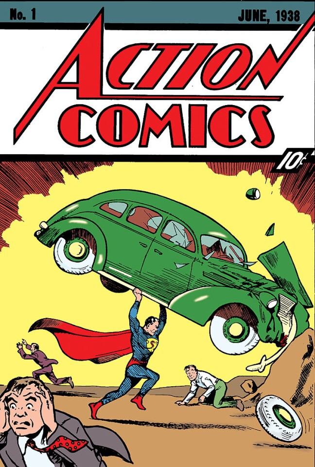 """""""The Coming of Superman,"""" from """"Action Comics"""" #1. Written by Jerry Siegel with art by Joe Shuster."""