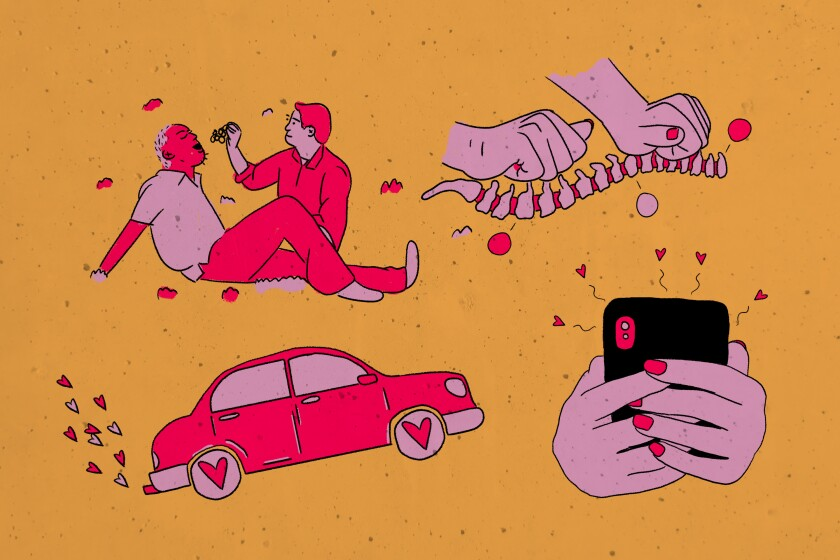 Illustration of a man feeding a man grapes, hands on a spine, a car emitting hearts and hands holding a smartphone