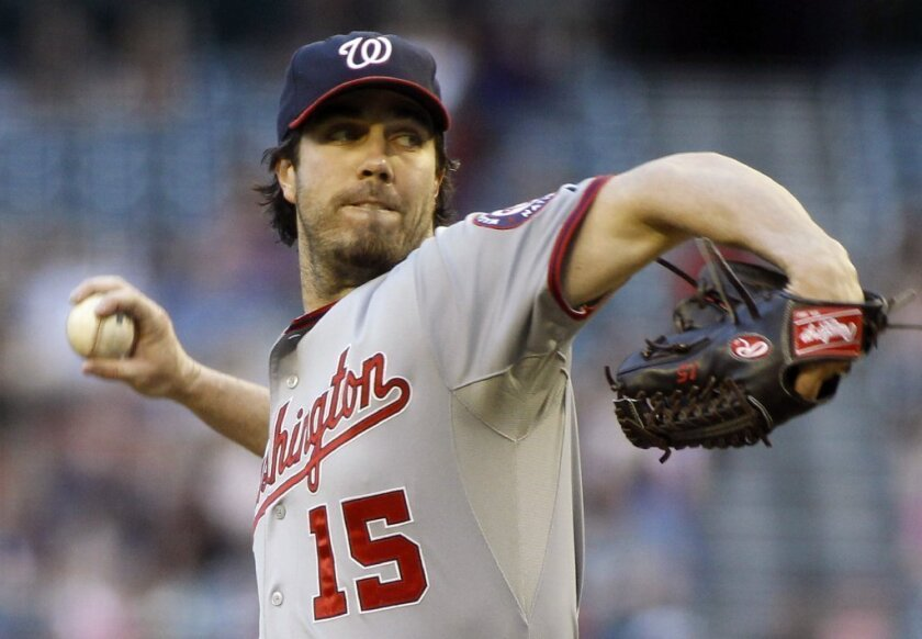 The Dodgers hope Dan Haren pitches like he did in his last 13 games (6-3, 3.14 ERA) for the Nationals last season.