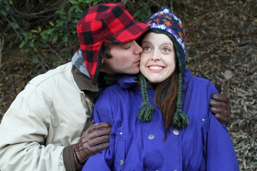 "Joshua Jones and DeNae Steele in Scripps Ranch Theatre's ""Almost, Maine."""