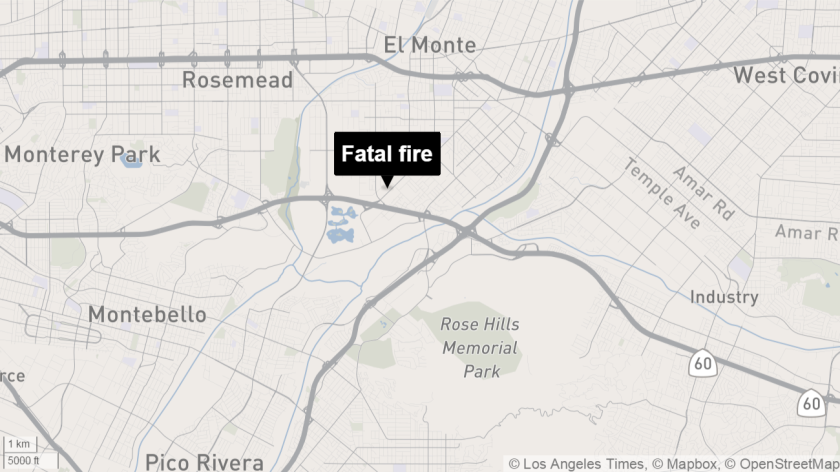 Map shows approximate location of fatal fire in South El Monte.