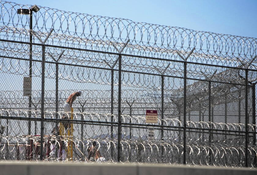 Detainees in the Adelanto Detention Center work out behind double fencing and barbed wire.