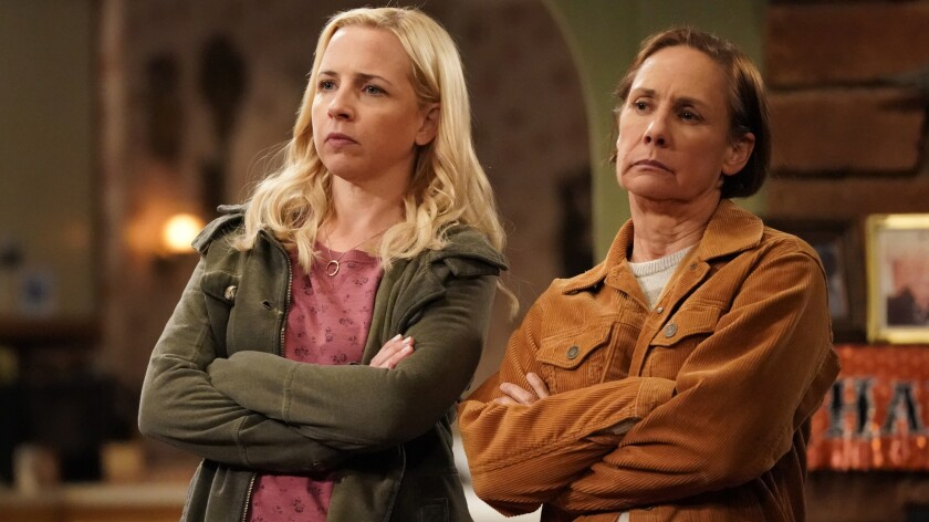 "Lecy Goranson, left, and Laurie Metcalf in ""The Conners"" on ABC."