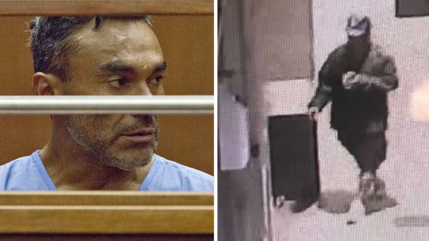 At left, Ramon Escobar appearing in court. At right, a surveillance image shows a man who police say attacked homeless men in downtown L.A.